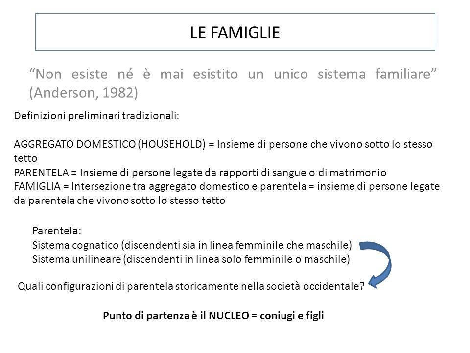 LE FAMIGLIE Non esiste né è mai esistito un unico sistema familiare (Anderson, 1982) Definizioni preliminari tradizionali: