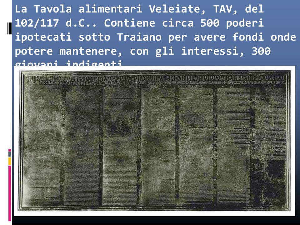La Tavola alimentari Veleiate, TAV, del 102/117 d. C