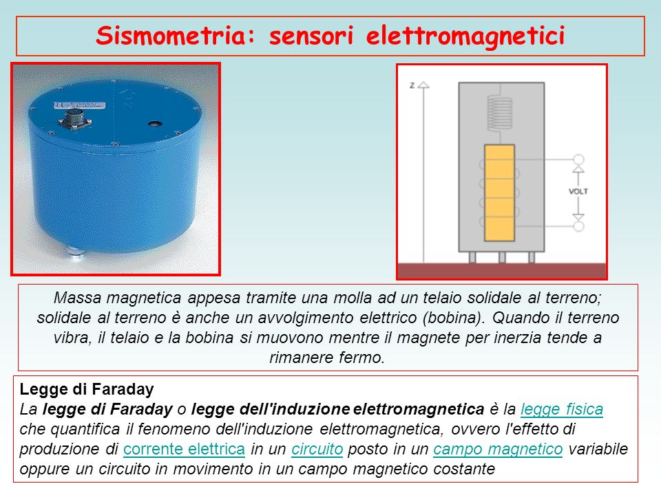 Sismometria: sensori elettromagnetici