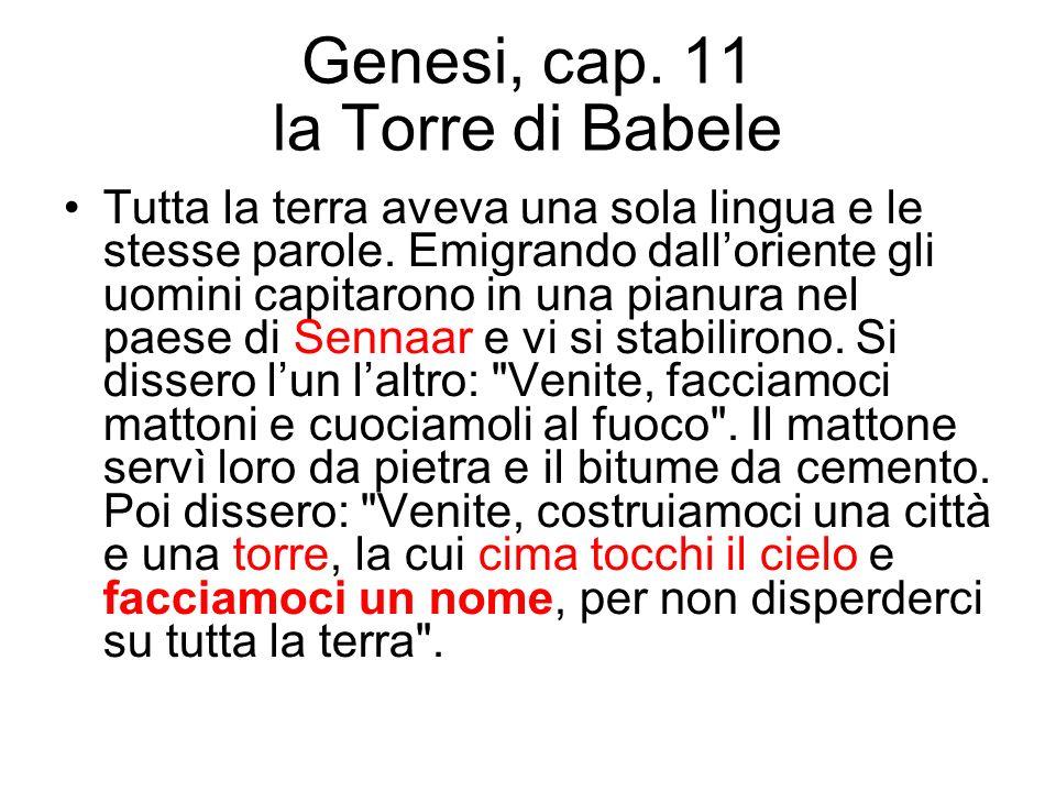 Genesi, cap. 11 la Torre di Babele