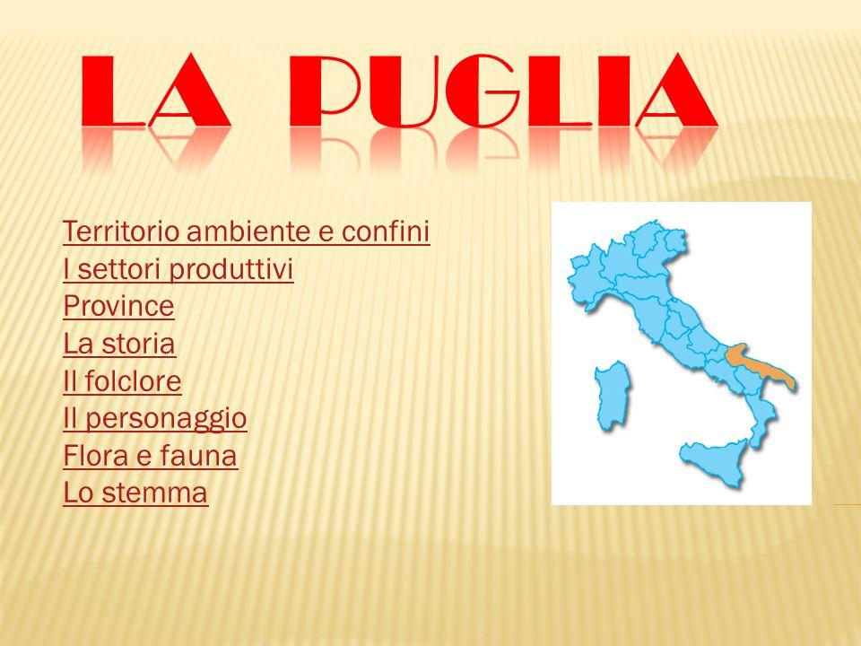 La Puglia Territorio ambiente e confini I settori produttivi Province