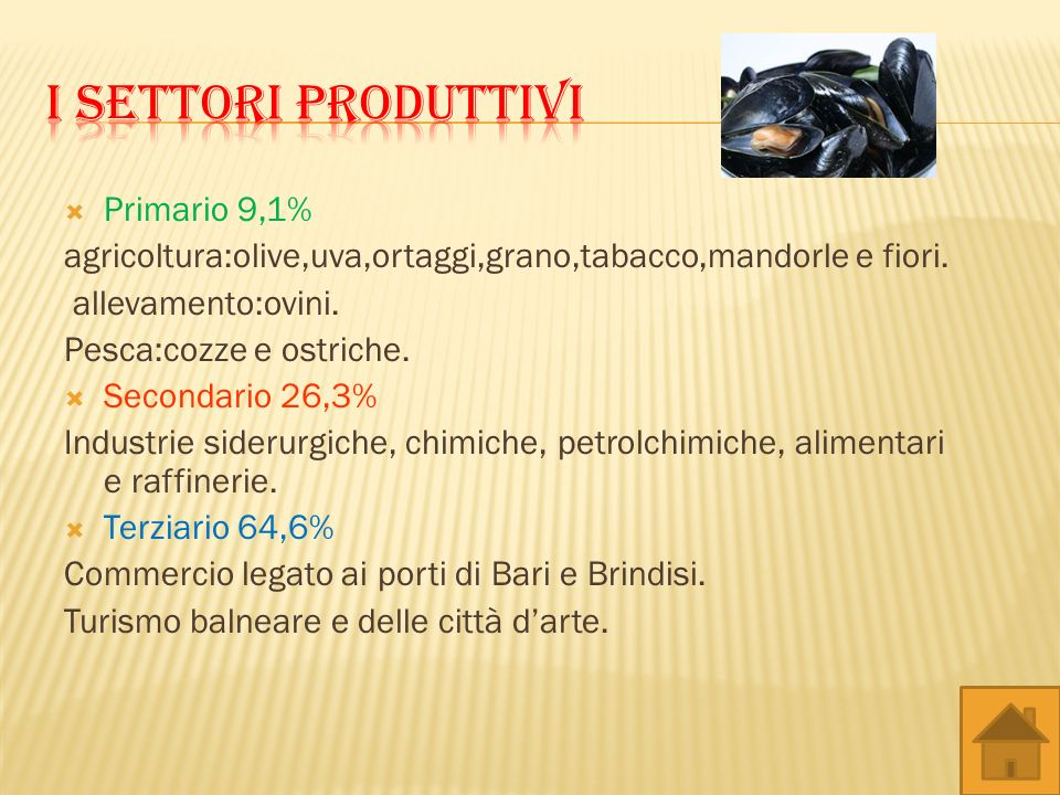 I settori produttivi Primario 9,1%