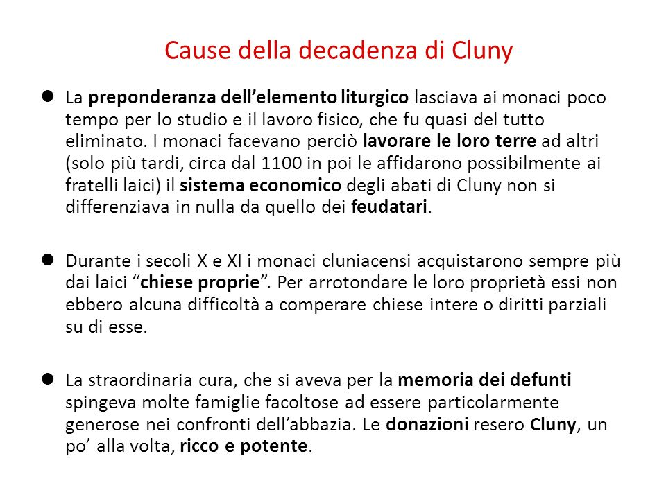 Cause della decadenza di Cluny