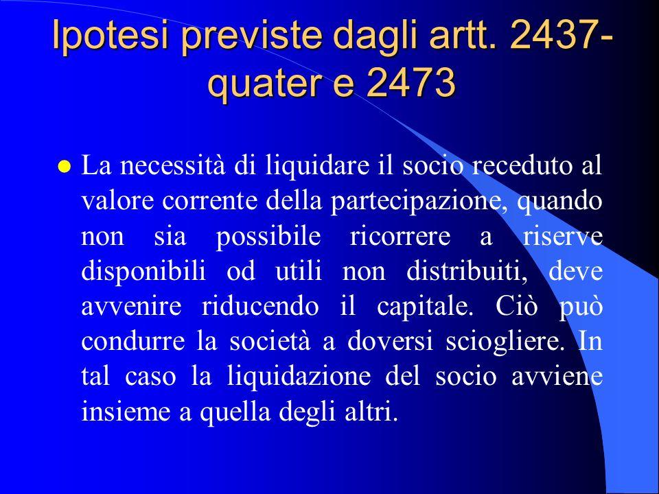 Ipotesi previste dagli artt. 2437-quater e 2473
