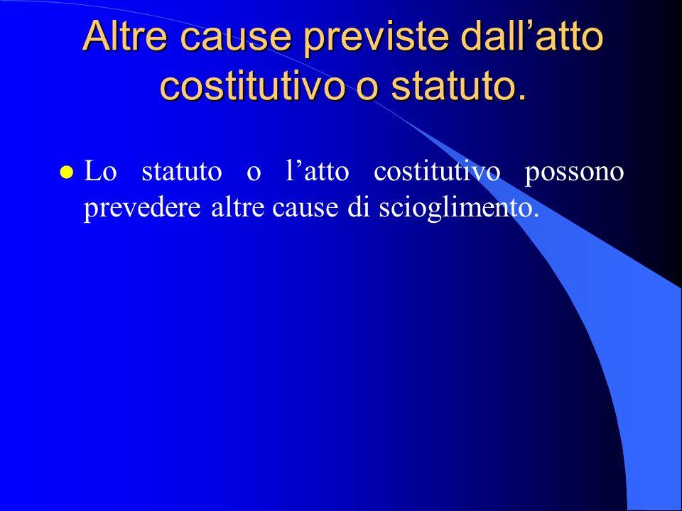 Altre cause previste dall'atto costitutivo o statuto.