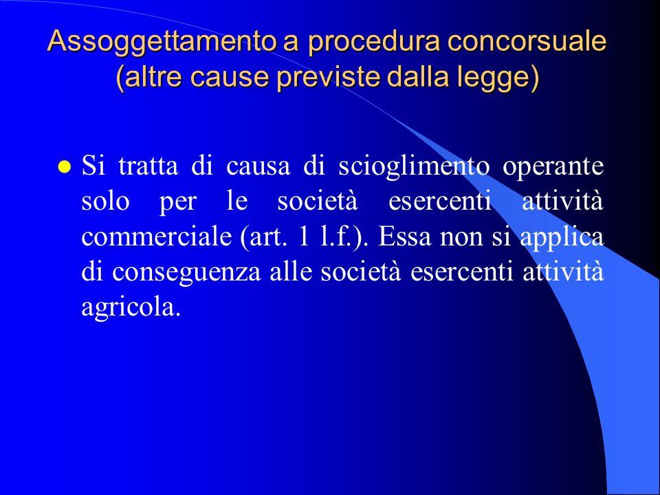Assoggettamento a procedura concorsuale (altre cause previste dalla legge)