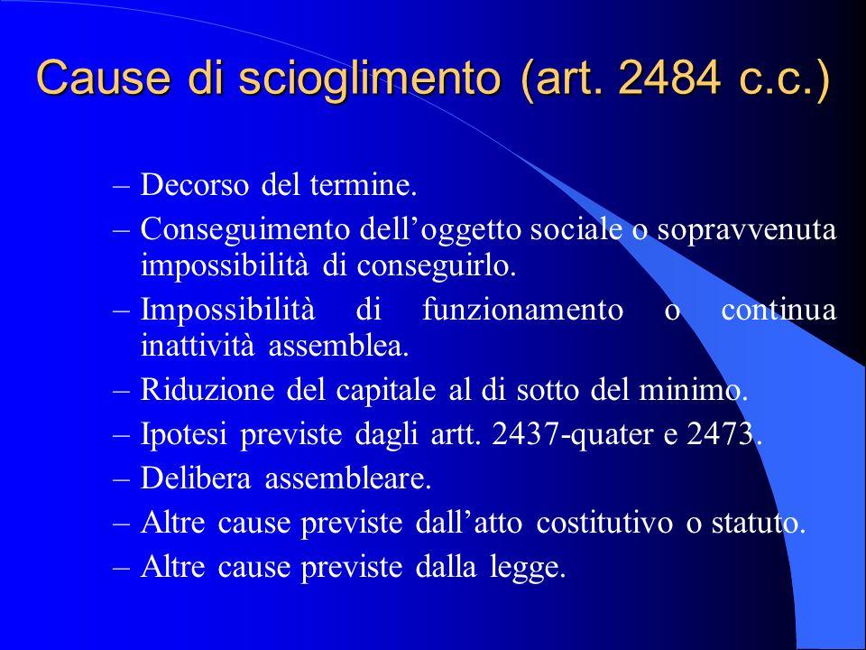 Cause di scioglimento (art. 2484 c.c.)