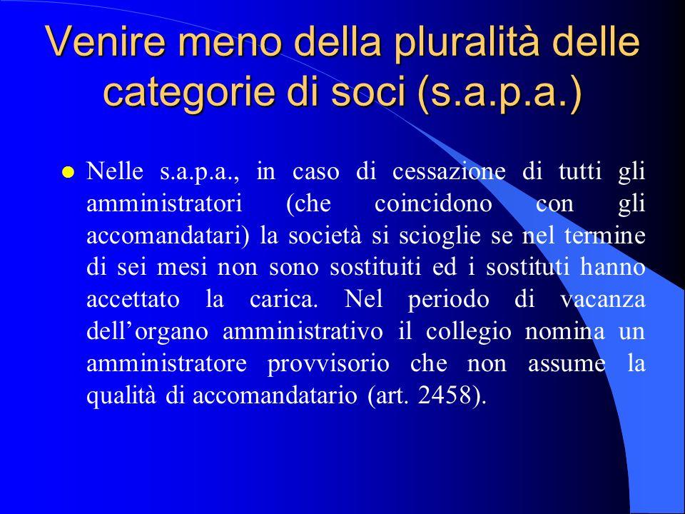 Venire meno della pluralità delle categorie di soci (s.a.p.a.)