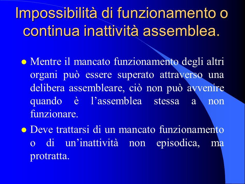 Impossibilità di funzionamento o continua inattività assemblea.