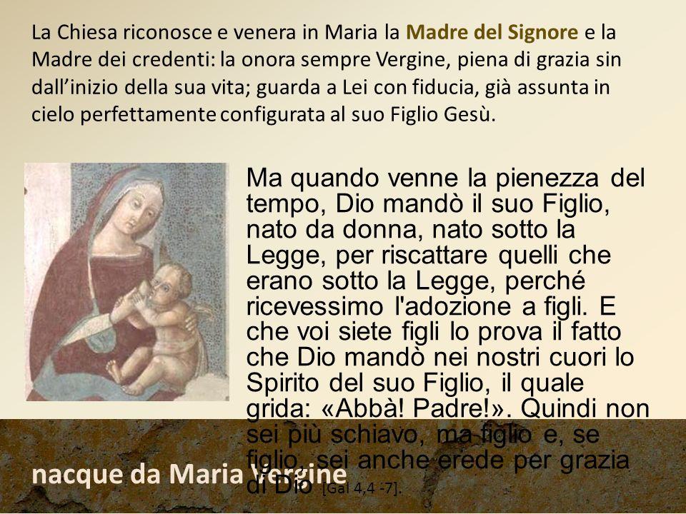 nacque da Maria Vergine