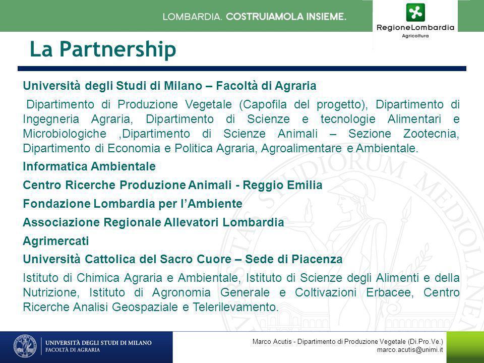 La Partnership Università degli Studi di Milano – Facoltà di Agraria