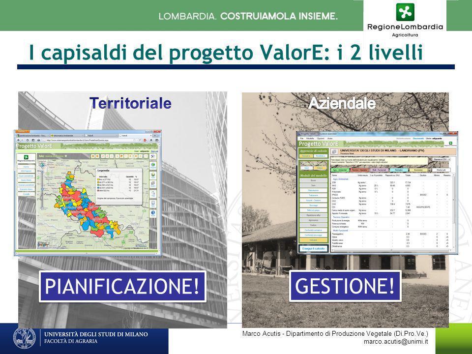 I capisaldi del progetto ValorE: i 2 livelli