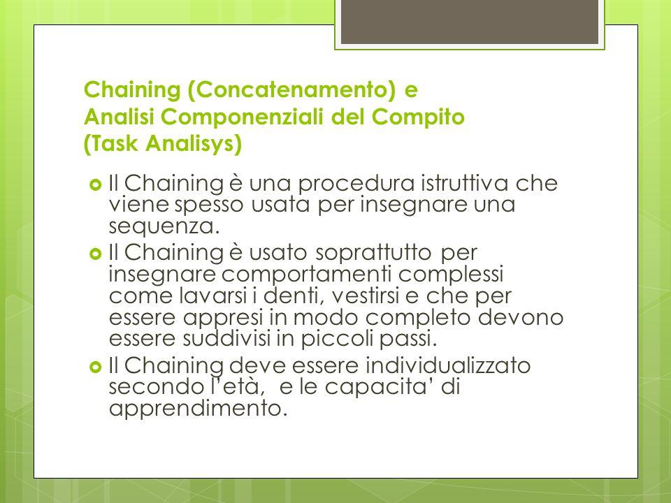 Chaining (Concatenamento) e Analisi Componenziali del Compito (Task Analisys)