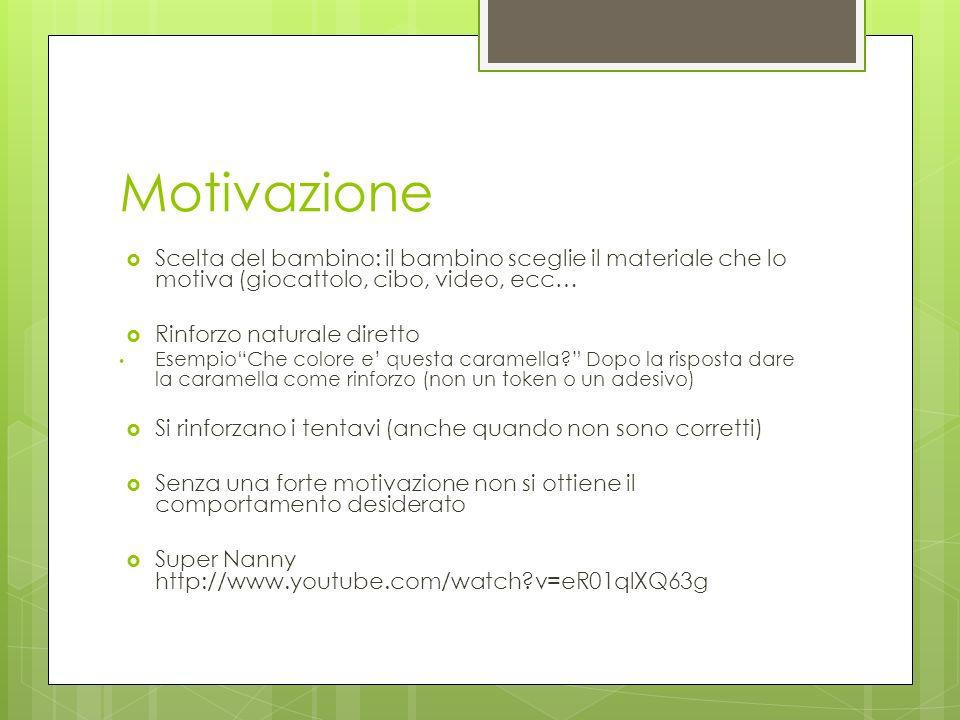 Motivazione Scelta del bambino: il bambino sceglie il materiale che lo motiva (giocattolo, cibo, video, ecc…