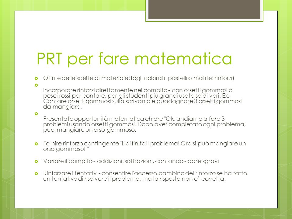 PRT per fare matematica