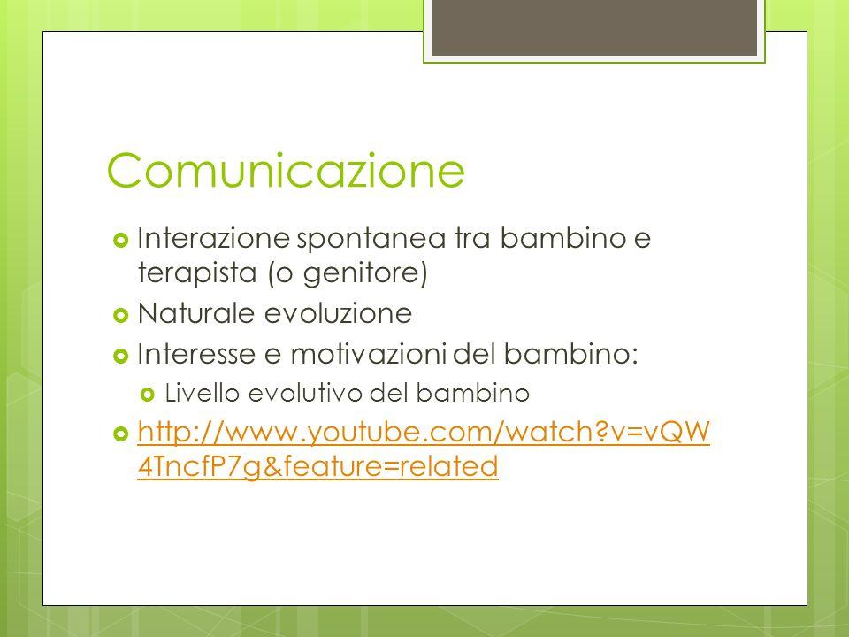 Comunicazione Interazione spontanea tra bambino e terapista (o genitore) Naturale evoluzione. Interesse e motivazioni del bambino: