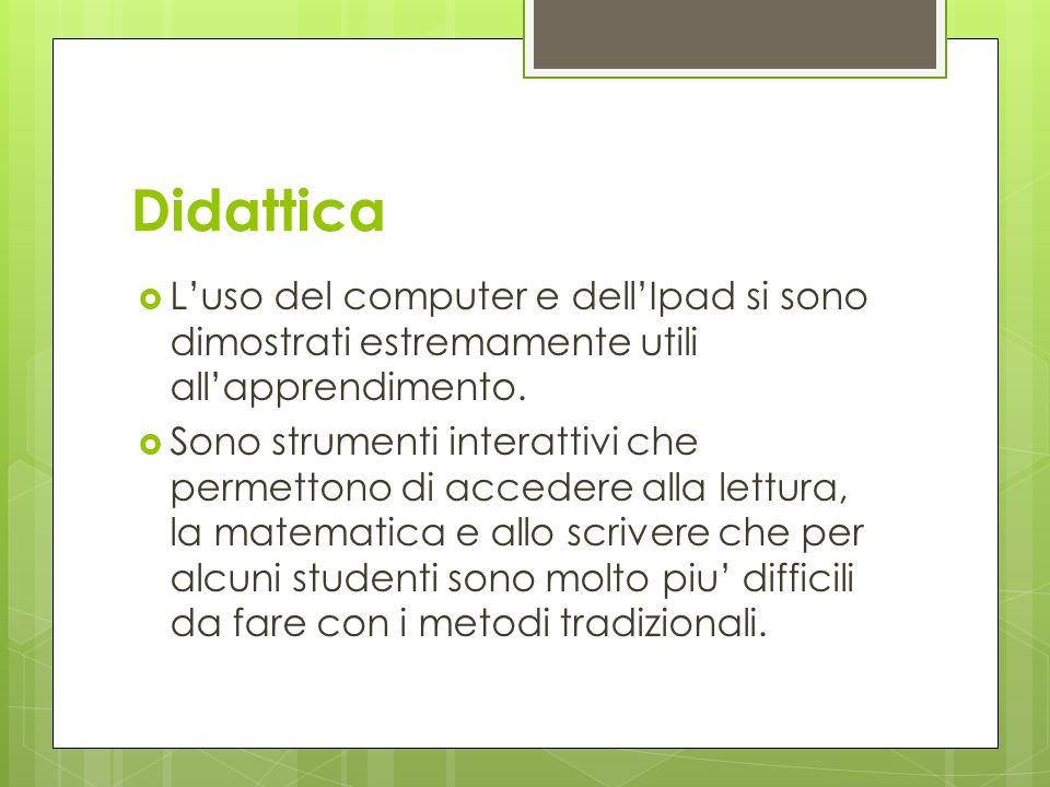 Didattica L'uso del computer e dell'Ipad si sono dimostrati estremamente utili all'apprendimento.