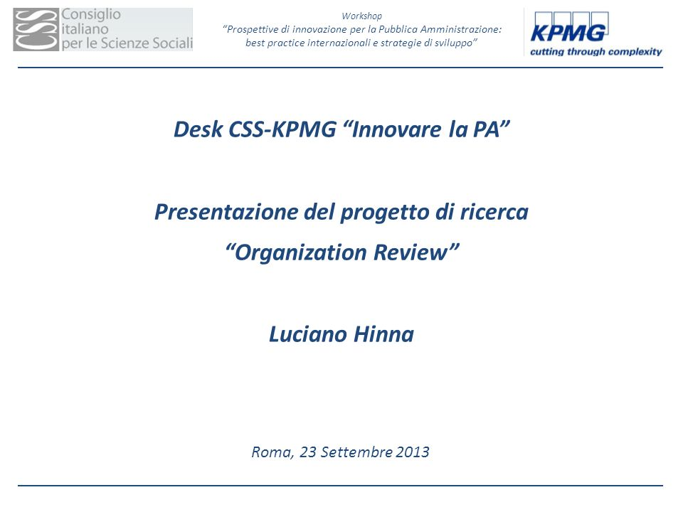 Desk CSS-KPMG Innovare la PA