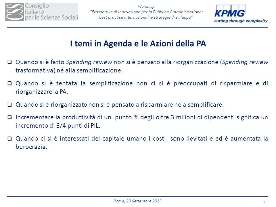 I temi in Agenda e le Azioni della PA