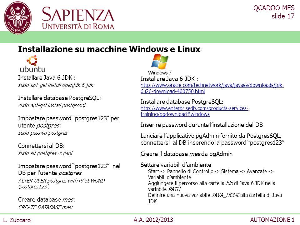 Installazione su macchine Windows e Linux