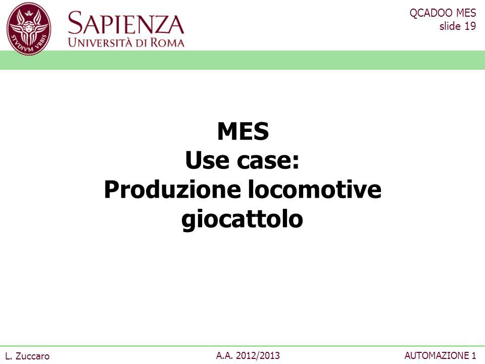 MES Use case: Produzione locomotive giocattolo