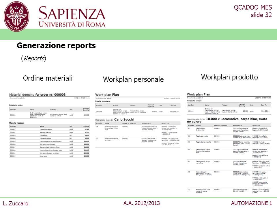Generazione reports Ordine materiali Workplan prodotto