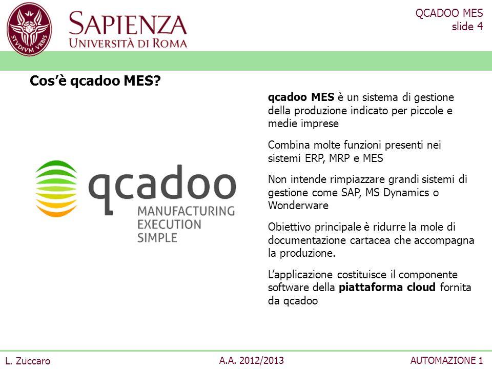 Cos'è qcadoo MES qcadoo MES è un sistema di gestione della produzione indicato per piccole e medie imprese.