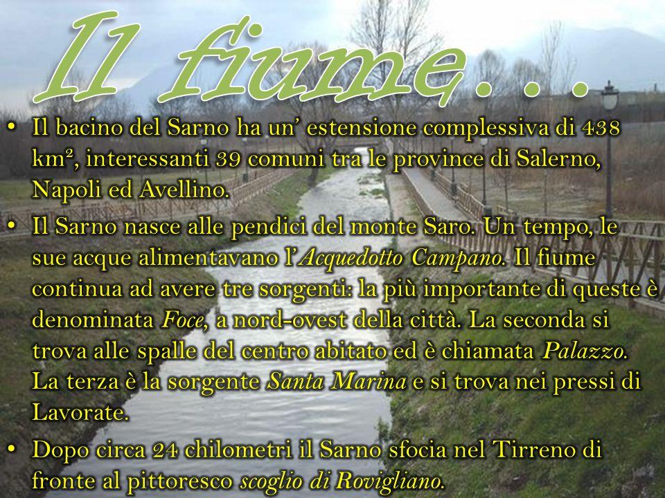 Il fiume… Il bacino del Sarno ha un' estensione complessiva di 438 km², interessanti 39 comuni tra le province di Salerno, Napoli ed Avellino.