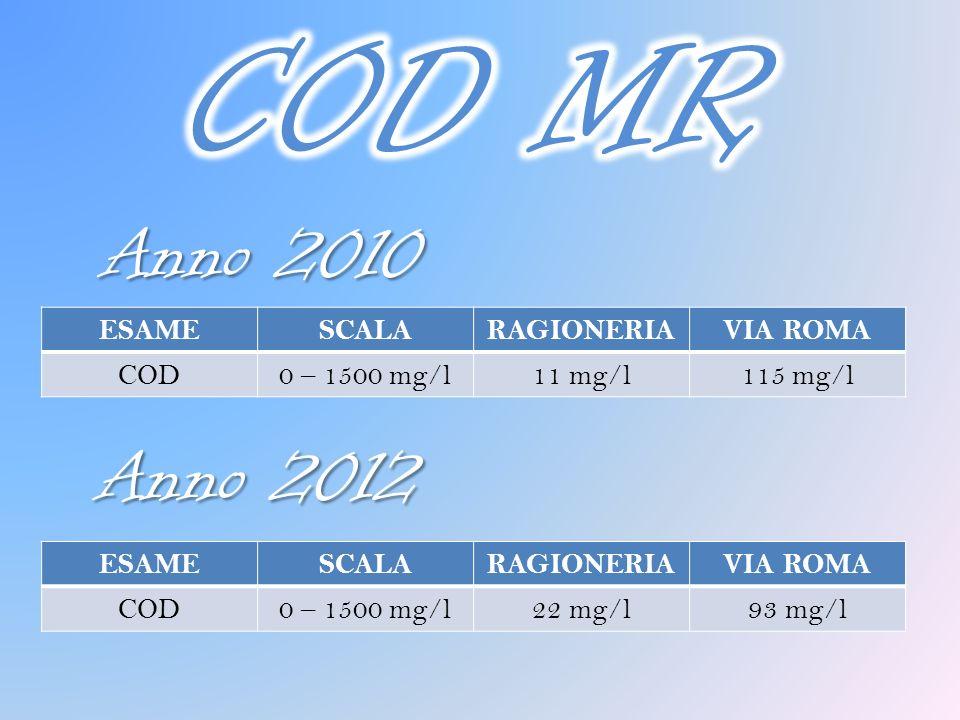 COD MR Anno 2010 Anno 2012 ESAME SCALA RAGIONERIA VIA ROMA COD