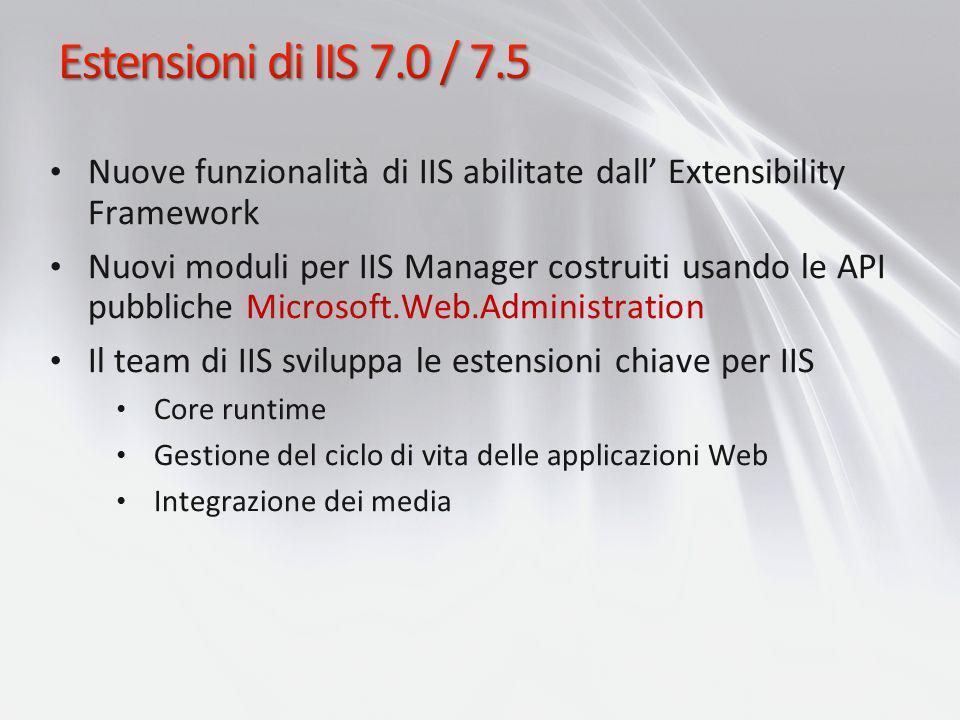 Estensioni di IIS 7.0 / 7.5 Nuove funzionalità di IIS abilitate dall' Extensibility Framework.