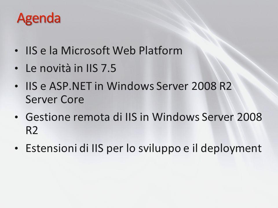 Agenda IIS e la Microsoft Web Platform Le novità in IIS 7.5