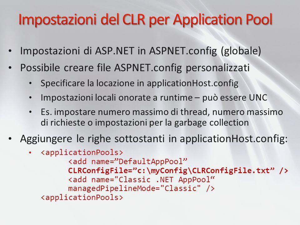 Impostazioni del CLR per Application Pool
