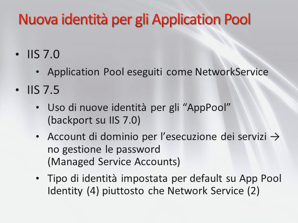 Nuova identità per gli Application Pool