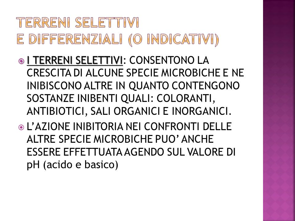Terreni SELETTIVI e DIFFERENZIALI (o indicativi)