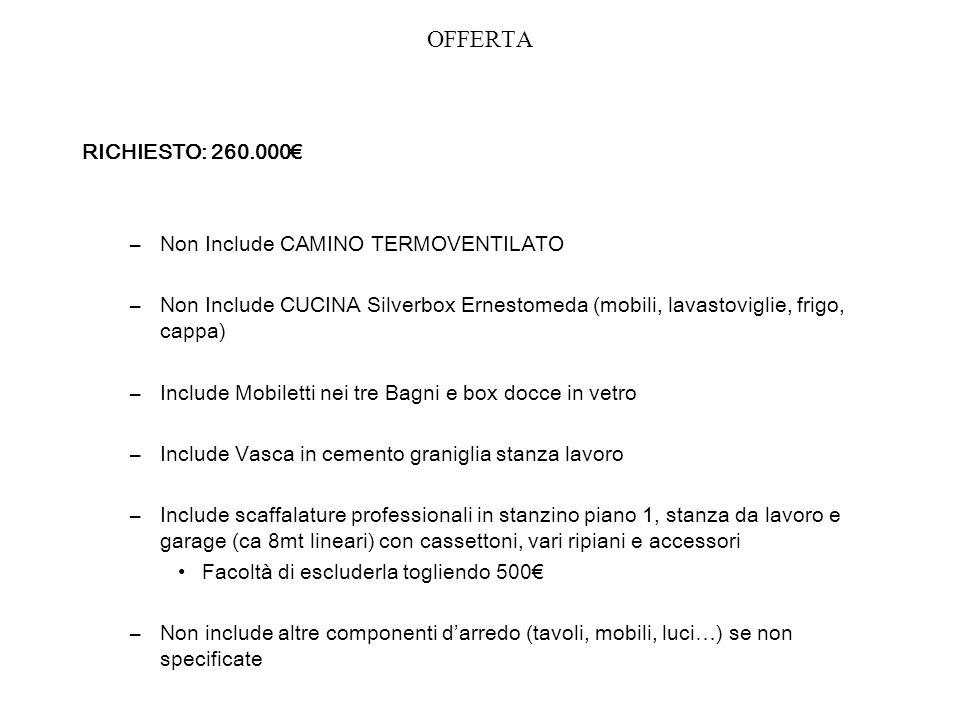 OFFERTA RICHIESTO: 260.000€ Non Include CAMINO TERMOVENTILATO