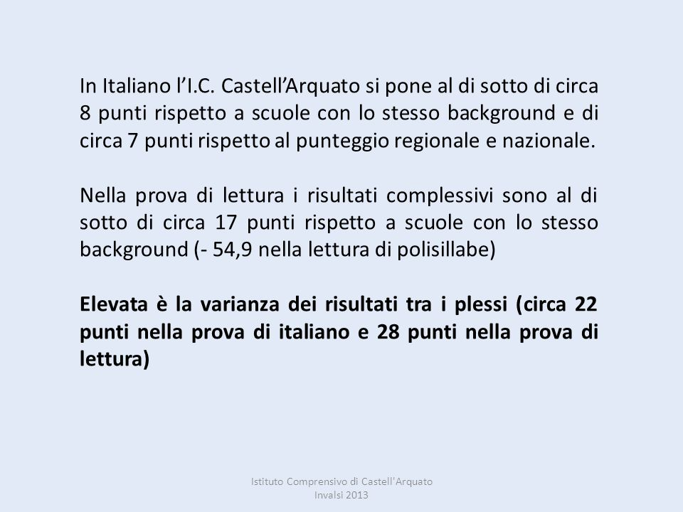 Istituto Comprensivo di Castell Arquato Invalsi 2013