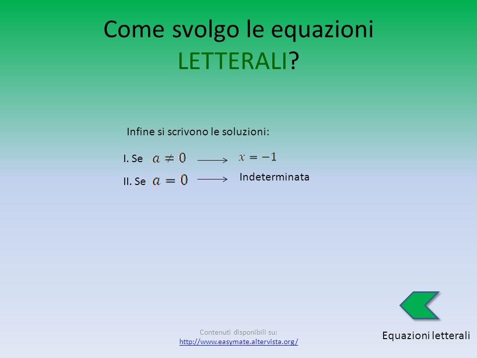Come svolgo le equazioni LETTERALI