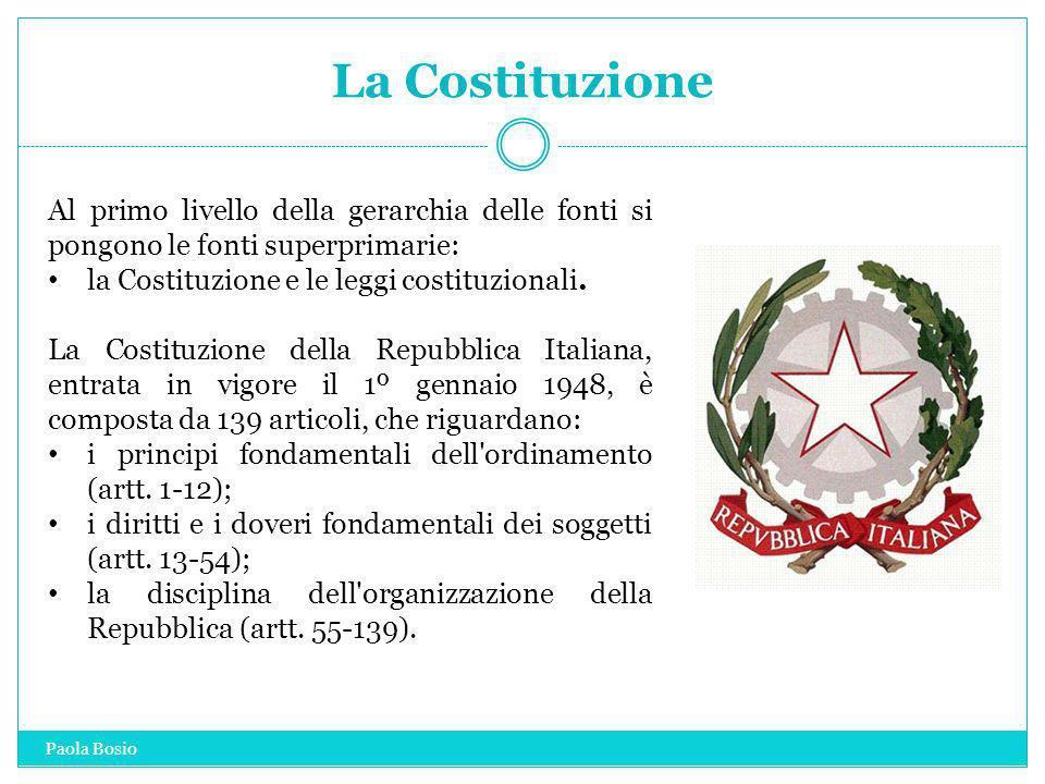 La CostituzioneAl primo livello della gerarchia delle fonti si pongono le fonti superprimarie: la Costituzione e le leggi costituzionali.