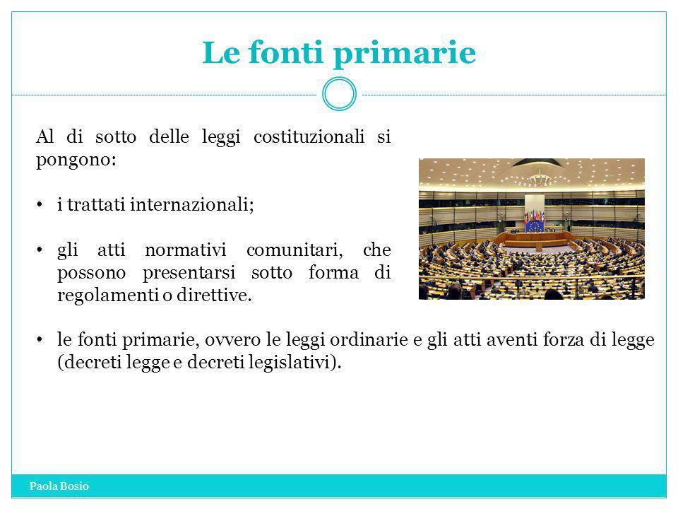 Le fonti primarie Al di sotto delle leggi costituzionali si pongono: