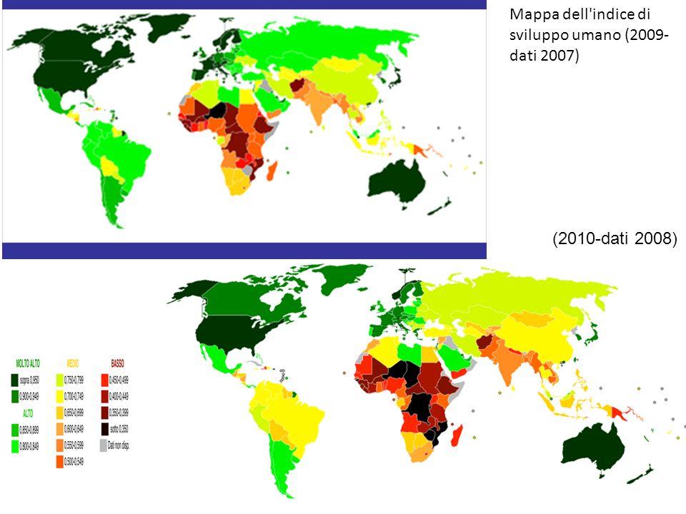 Mappa dell indice di sviluppo umano (2009-dati 2007)