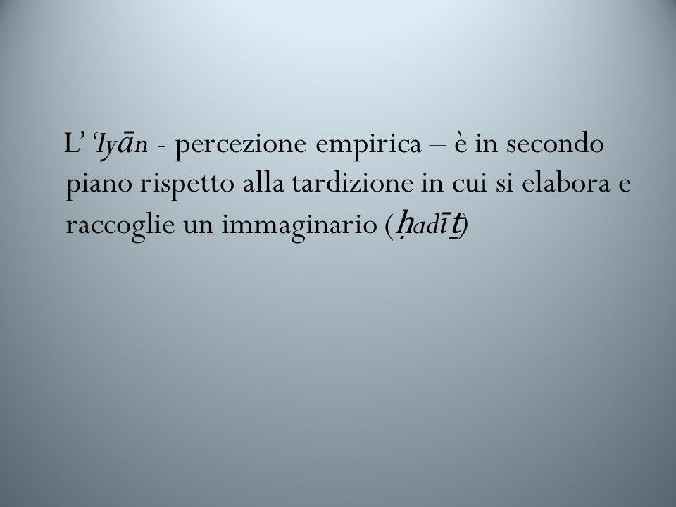 L''Iyān - percezione empirica – è in secondo piano rispetto alla tardizione in cui si elabora e raccoglie un immaginario (ḥadīṯ)