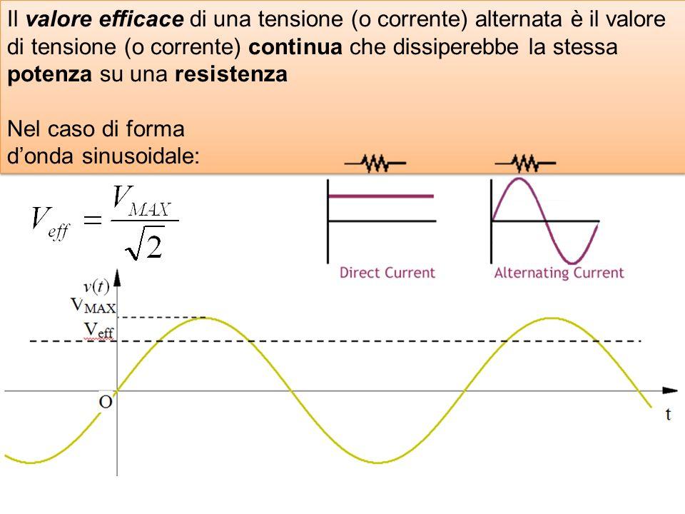 Il valore efficace di una tensione (o corrente) alternata è il valore di tensione (o corrente) continua che dissiperebbe la stessa potenza su una resistenza