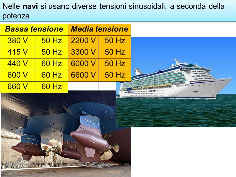 Nelle navi si usano diverse tensioni sinusoidali, a seconda della potenza