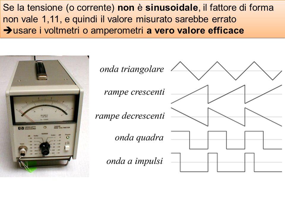 Se la tensione (o corrente) non è sinusoidale, il fattore di forma non vale 1,11, e quindi il valore misurato sarebbe errato