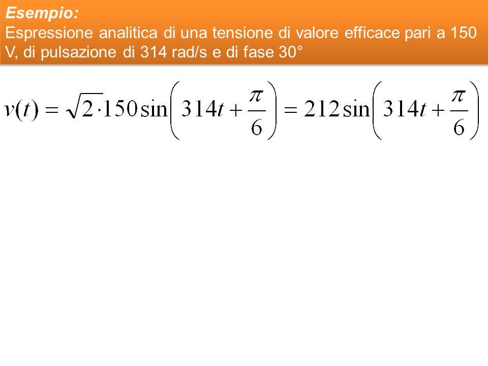 Esempio: Espressione analitica di una tensione di valore efficace pari a 150 V, di pulsazione di 314 rad/s e di fase 30°