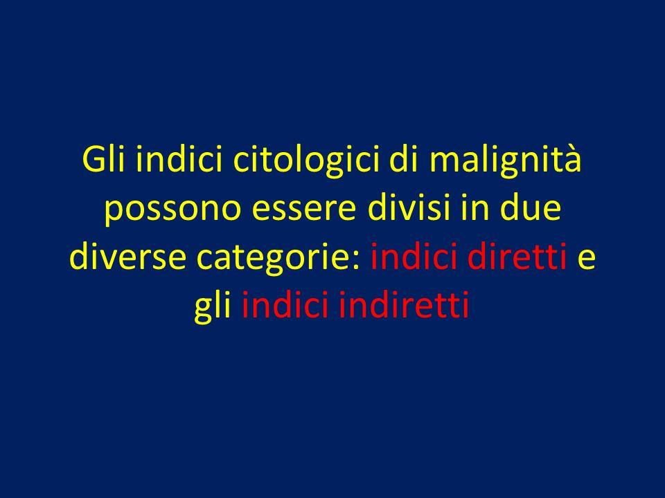 Gli indici citologici di malignità possono essere divisi in due diverse categorie: indici diretti e gli indici indiretti
