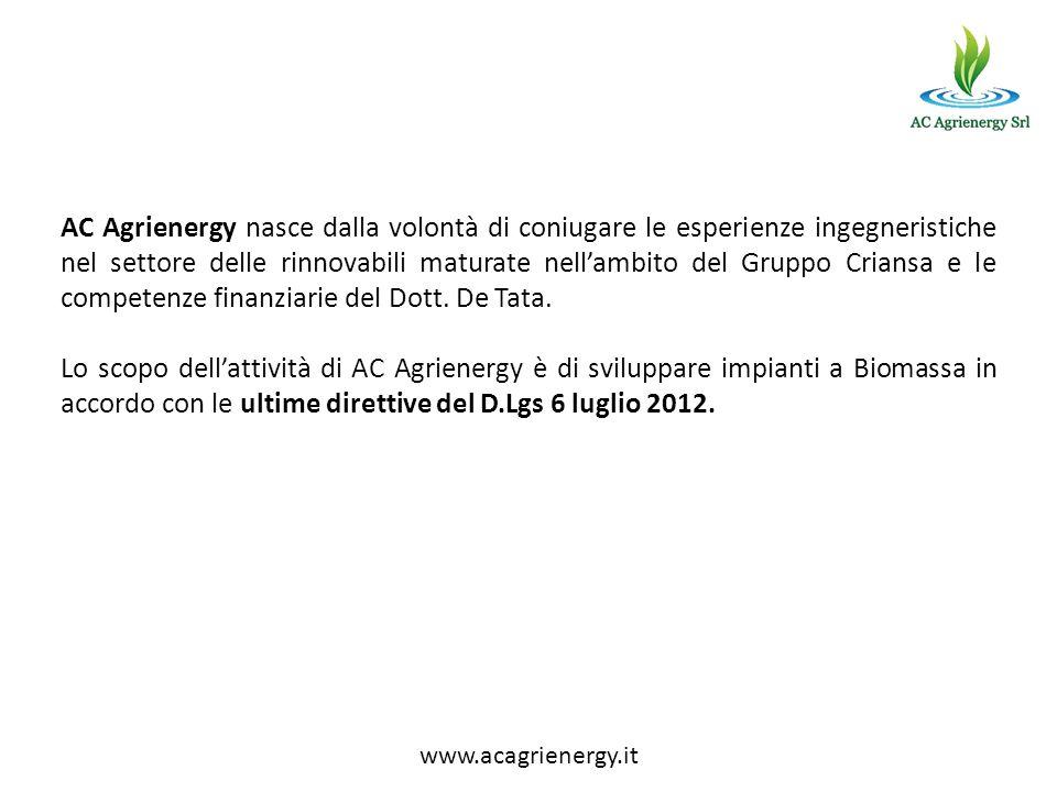 AC Agrienergy nasce dalla volontà di coniugare le esperienze ingegneristiche nel settore delle rinnovabili maturate nell'ambito del Gruppo Criansa e le competenze finanziarie del Dott. De Tata.