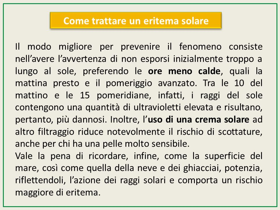 Come trattare un eritema solare