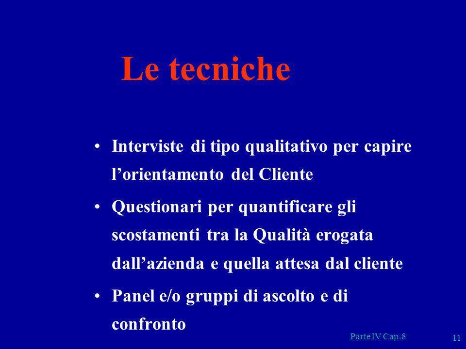 Le tecnicheInterviste di tipo qualitativo per capire l'orientamento del Cliente.