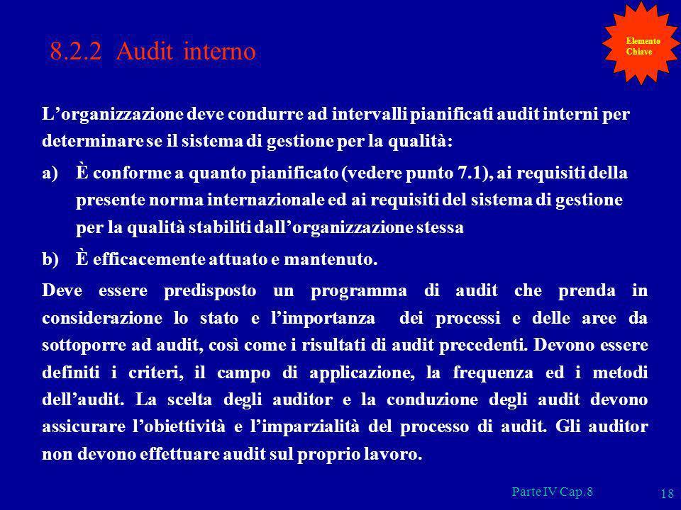 Elemento Chiave. 8.2.2 Audit interno.